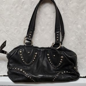 B Makowsky Black Leather Biker Bag